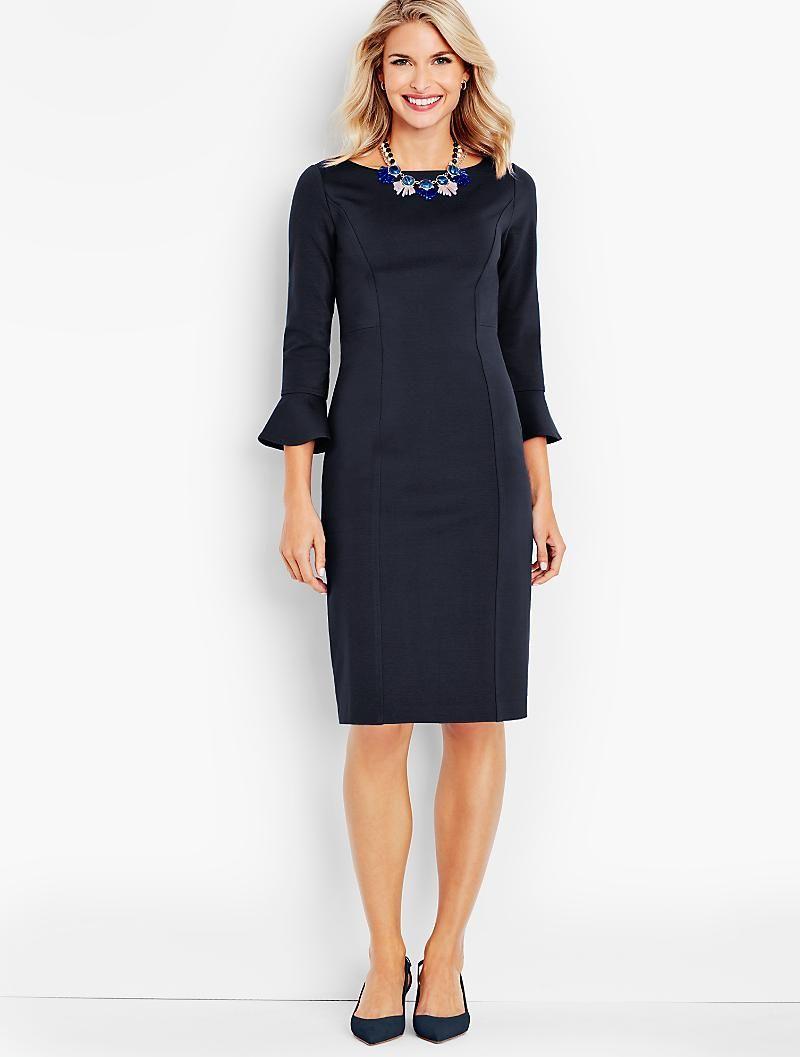 Flounced Sleeve Ponte Sheath Dress Talbots Talbots Dress Fabulous Dresses Womens Dresses [ 1057 x 800 Pixel ]