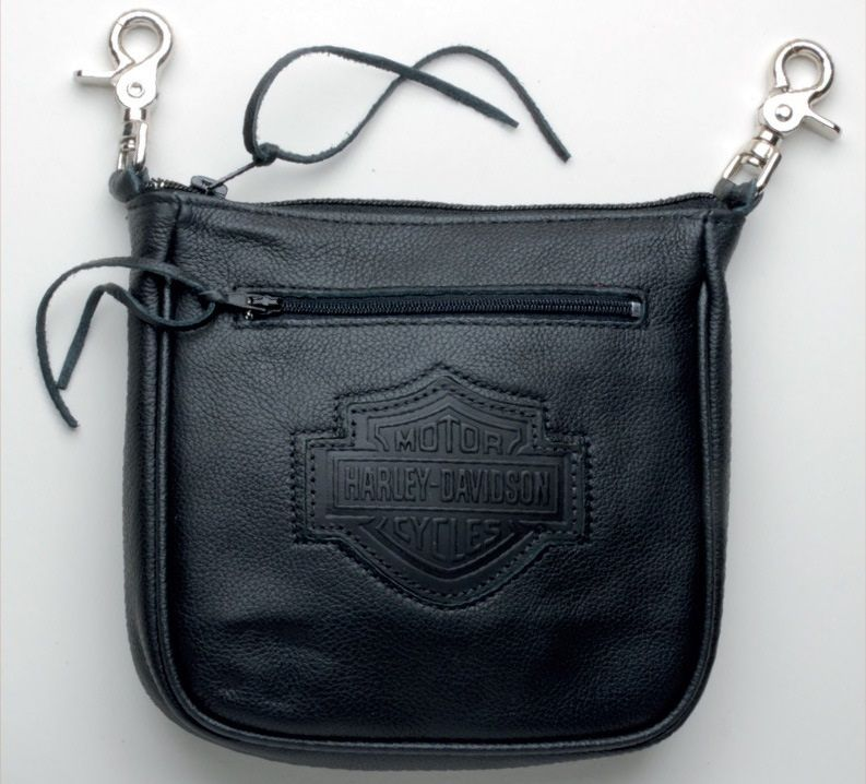 harley-davidson® bar & shield clip pouch with zipper hd605