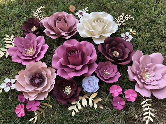 Paper Flowers Set Of 26 Items Products Large Paper Flowers