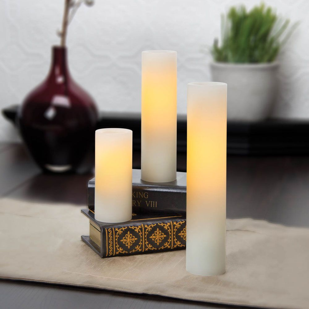 Flameless Candles With Remote Costco 468 Inch Variety Pack Flameless Slim Pillar Candles With Timer