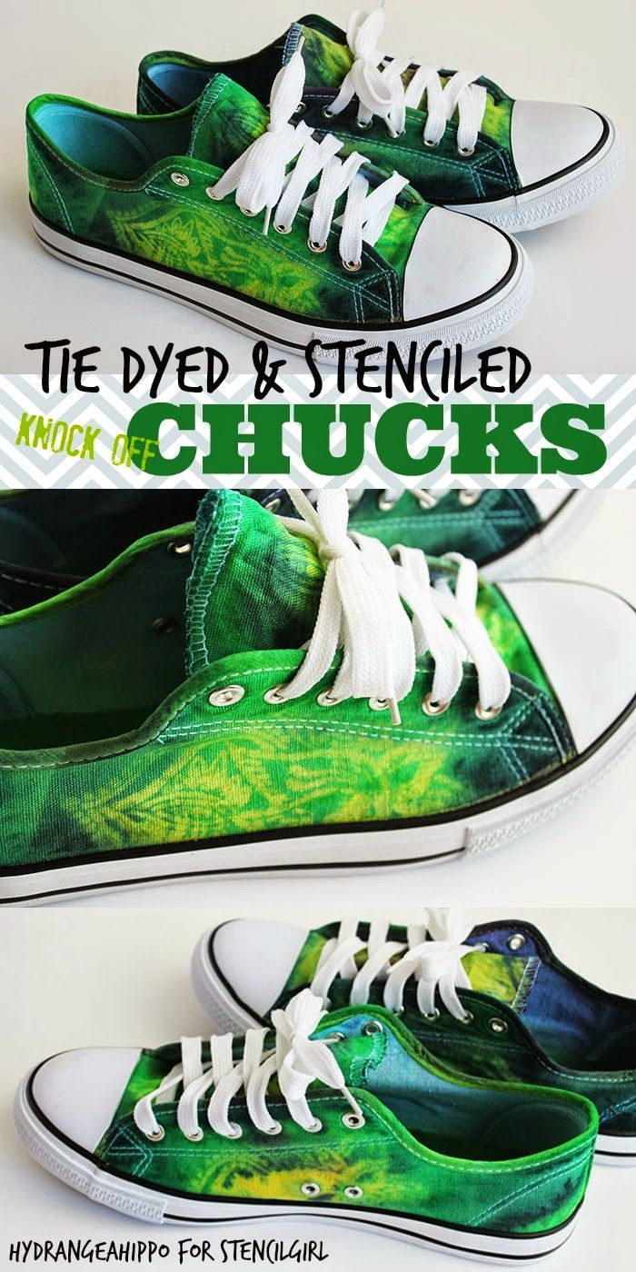 2e611d722531 Back to School Chic - How to Stencil and Tie Dye Shoes (StencilGirl ...