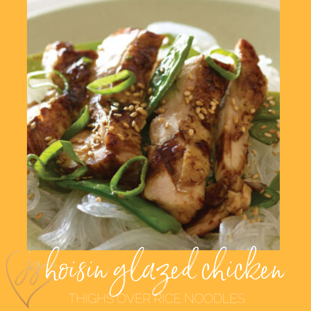 Hoisin Glazed Chicken Thighs Over Rice Noodles Recipe Kosher Chicken Recipes Recipes Chicken