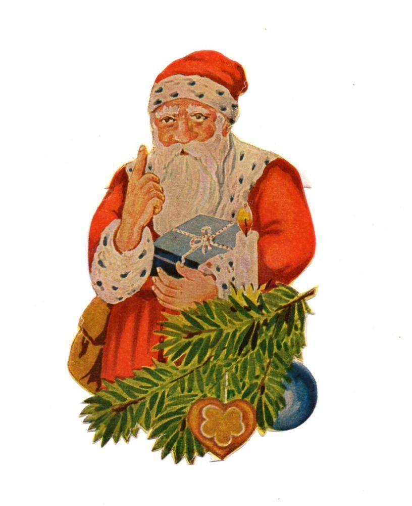 Weihnachtsbilder Tannenzweig.Alte Oblate Glanzbilder Scraps Weihnachtsmann Geschenk Tannenzweig