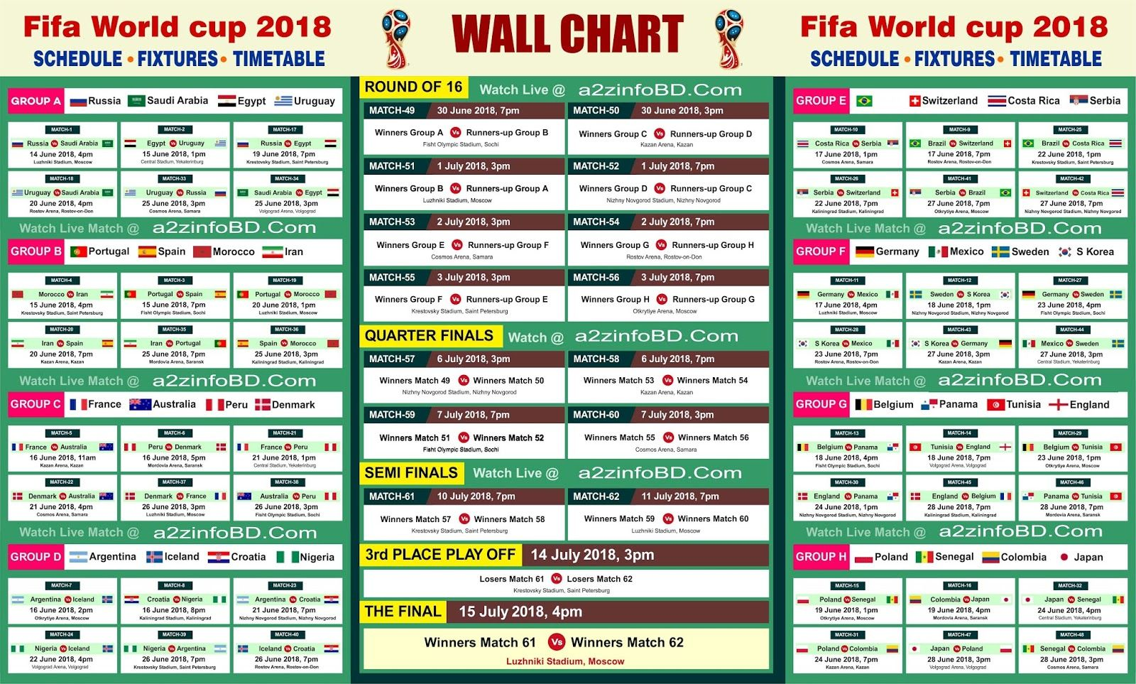 Printable Fifa World Cup 2018 Schedule World Cup Fixtures World Cup Match World Cup 2018