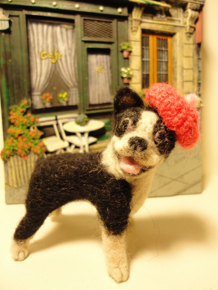 OOAK Handmade Needle felted Wool Boston Terrier with hand knitted beret hat