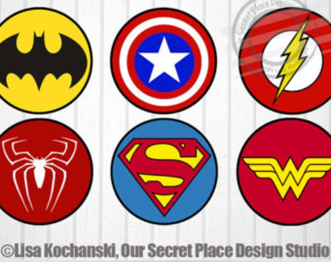 Instant download superhero logos superhero symbols superhero stickers superhero baby shower superhero party decor super hero