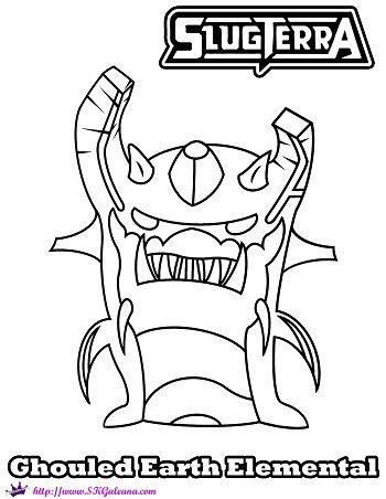 Slugterra Ghoul Earth Elemental Printable Coloring Page