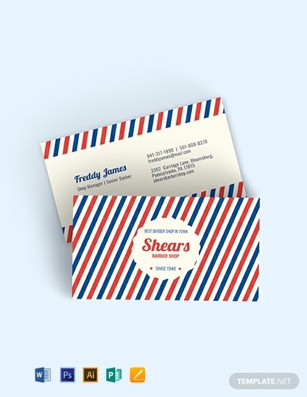 Vintage Barber Business Card Template - Word (DOC)   PSD ...