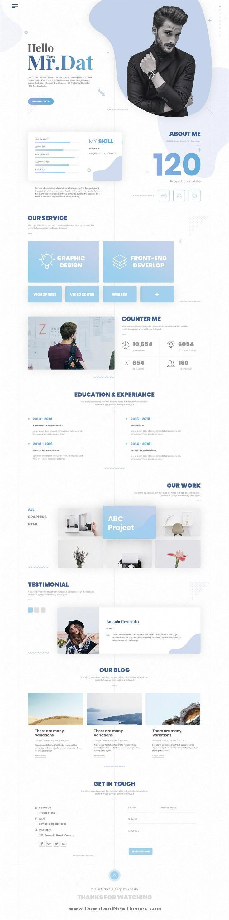 Perfas Is A Clean And Modern Design Psd Template For Creative Resume Vcard And Portfolio Showca Web App Design Web Design Inspiration Creative Web Design