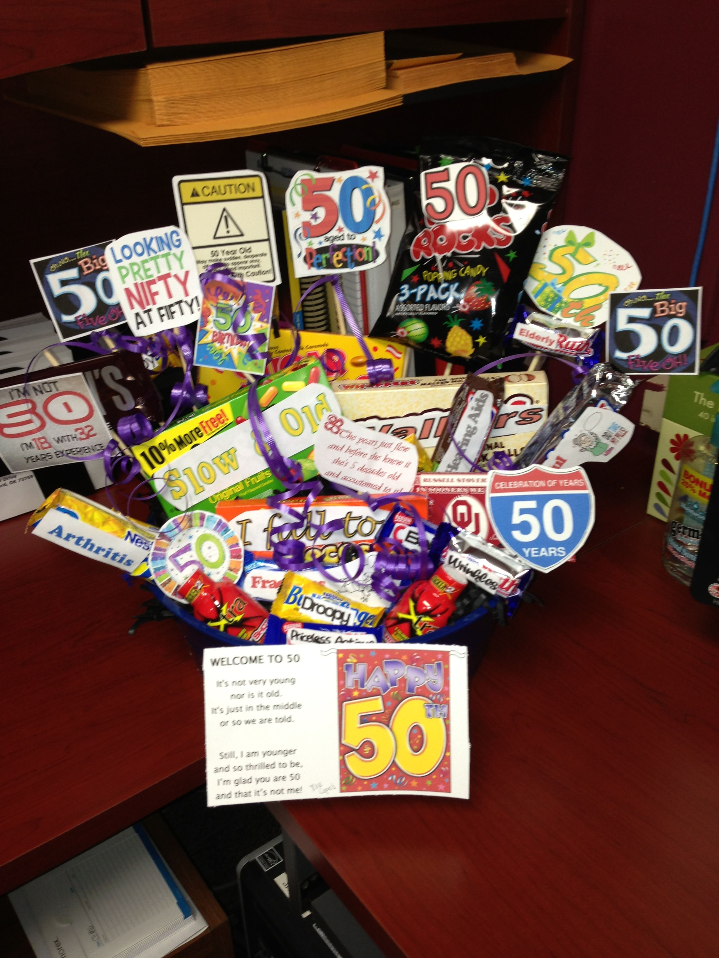 50th birthday gift basket for the home pinterest