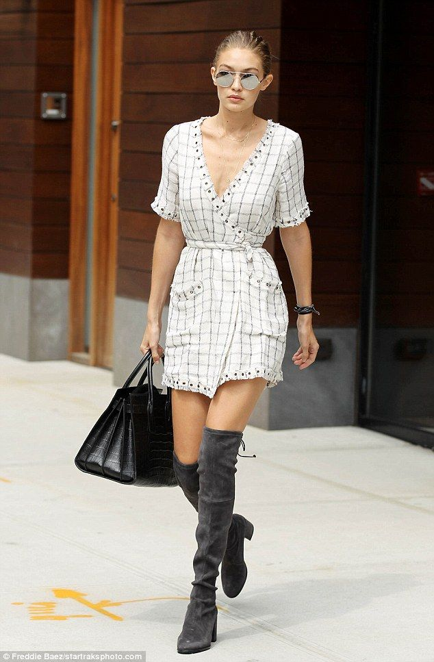 67b622bc63f Best foot forward: Gigi wore over-the-knee boots that tied in the back