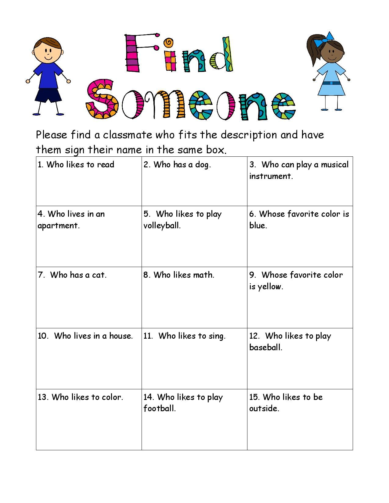 medium resolution of FREE - Back To School - Find Someone Who Game...   First day of school  activities