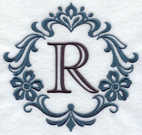 damask letter r 7 inch