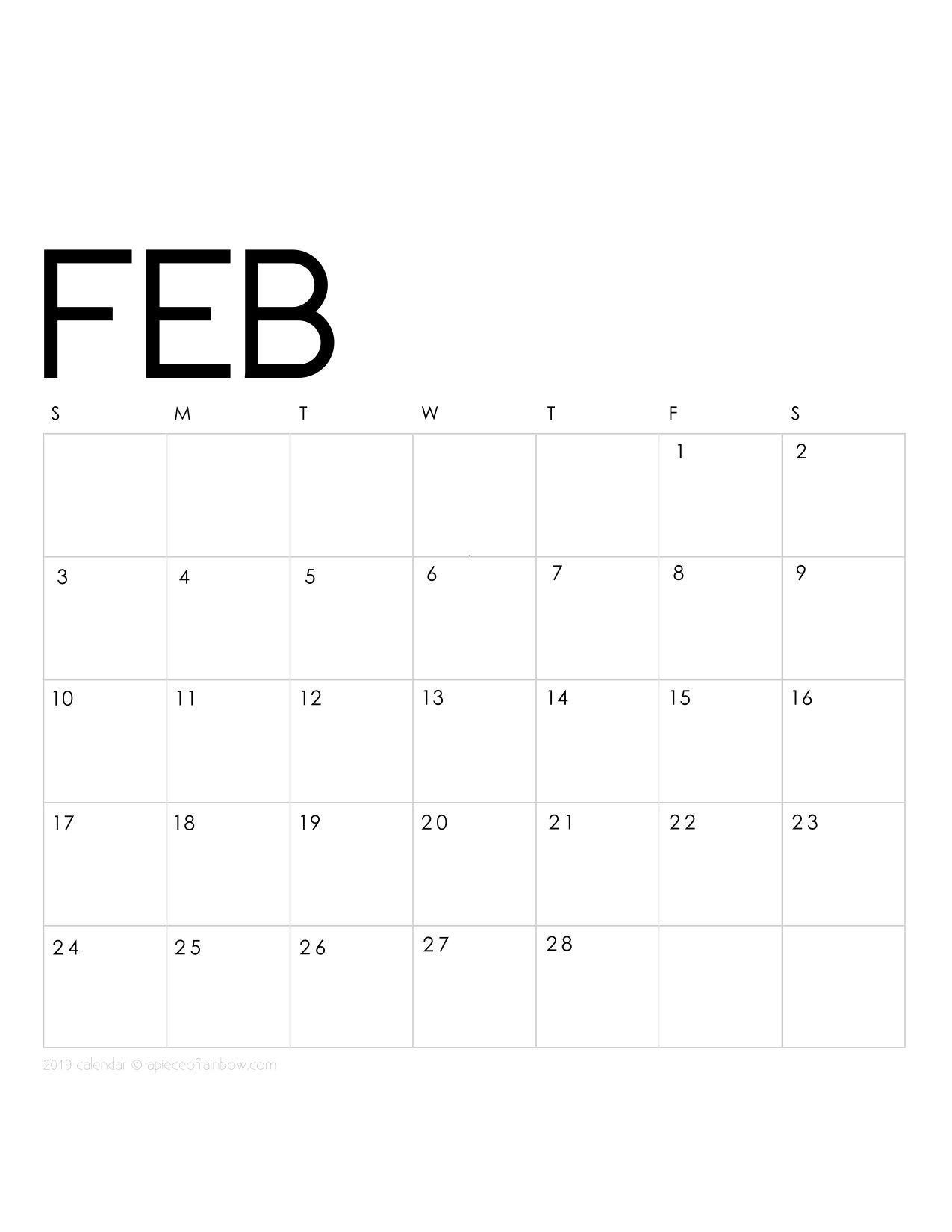 Free Printable February 2019 Calendar For Planning Printable February 2019 Calendar Monthly Planner {2 Designs