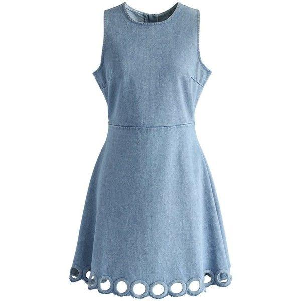 Circle Cutout Hem Denim Dress