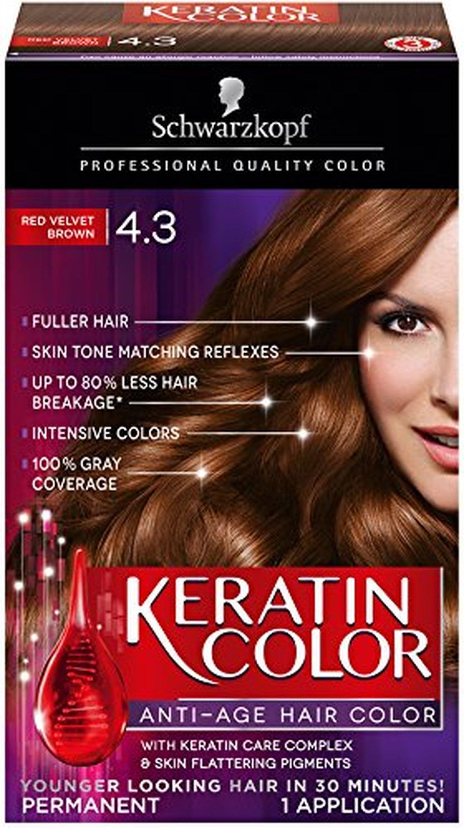 Schwarzkopf Keratin Hair Color Red Velvet Brown 43 203 Ounce