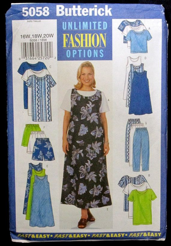 Butterick fashion options sewing pattern 5058 plus sizes 16W 18W 20W ...