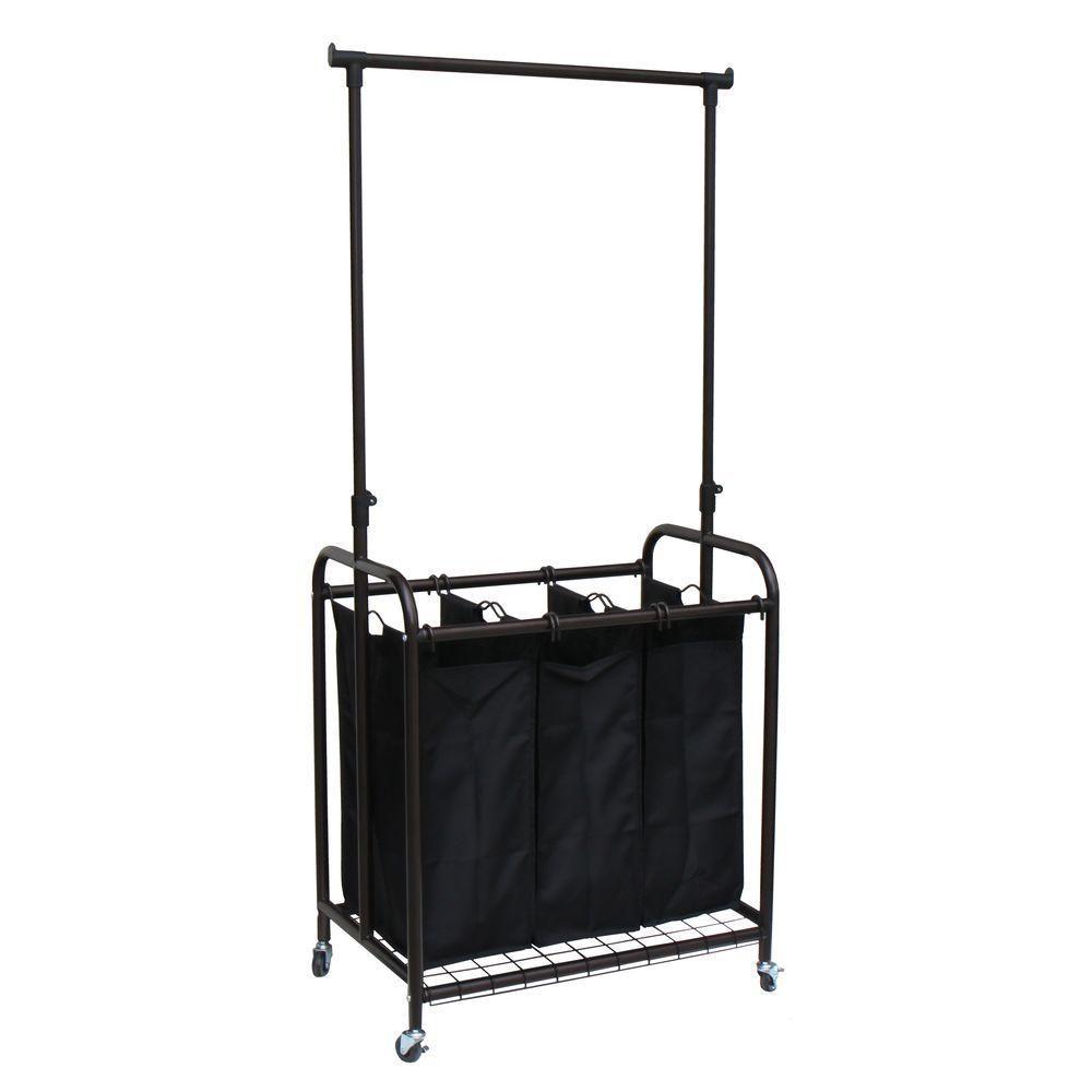 Oceanstar 3 Bag Bronze Rolling Laundry Sorter With Hanging Bar Laundry Sorter Hanging Bar Laundry Hamper