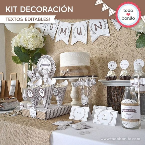 Rustico Kit Decoracion Primera Comunion Pinterest Communion - Decoracion-de-comunion-de-varon