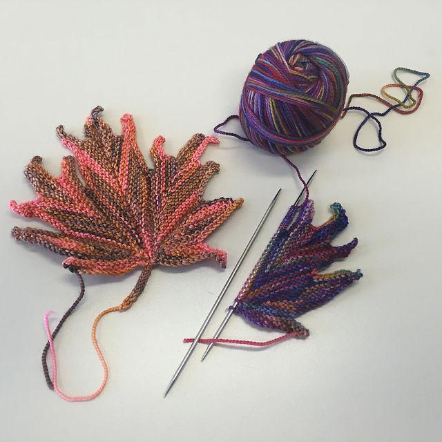 Motif décoratif feuille d'érable tricotée par Svetlana Gordon   – tricot