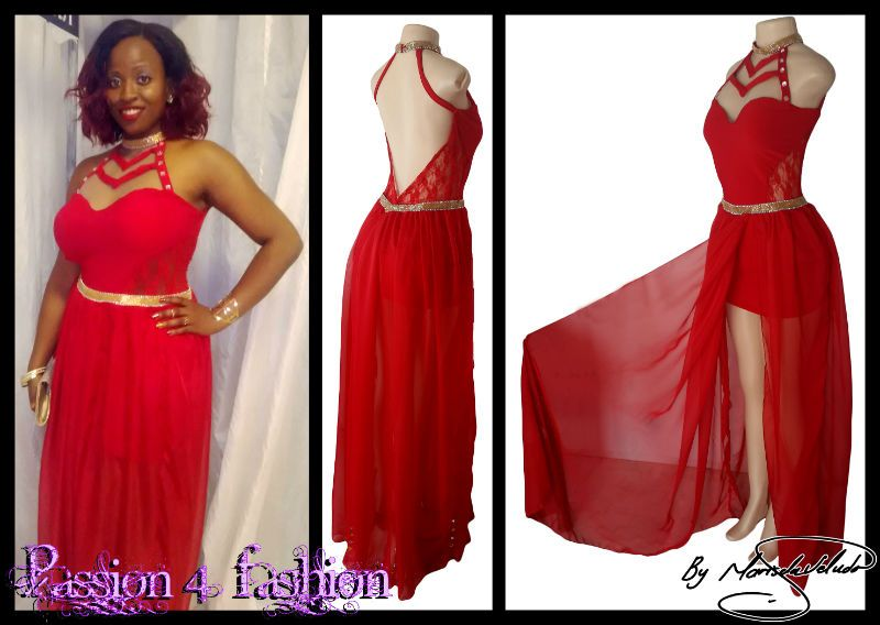 Red sheer matric farewell dress. Bodice with side panels and back in sheer lace. Sweetheart neckline. Low open back. Silver and gold beaded belt. Flowy chiffon. Suitable not only for a matric dance but also a Grade 7 Farewell Dress. Posted to Standerton - Mpumalanga.