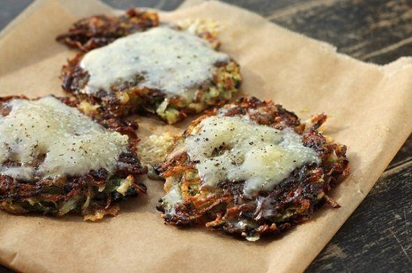 Zucchini Cheddar Potato Cakes  • 3 medium potatoes  • 2 medium zucchini  • cheddar   • salt + black pepper