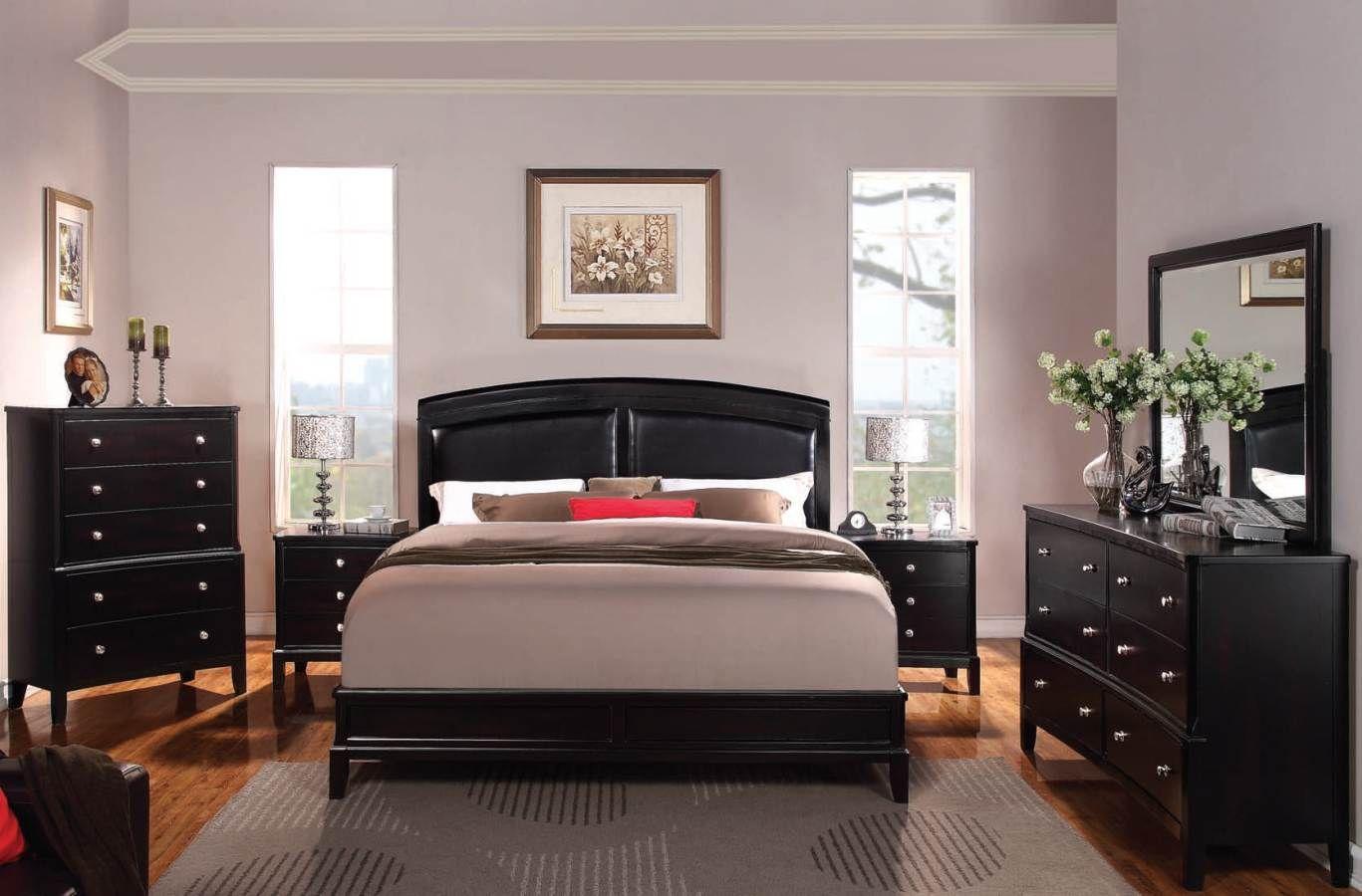 Abram Espresso Wood Faux Leather Master Bedroom Set Black Bedroom Furniture Dark Bedroom Furniture Wood Bedroom Furniture Sets