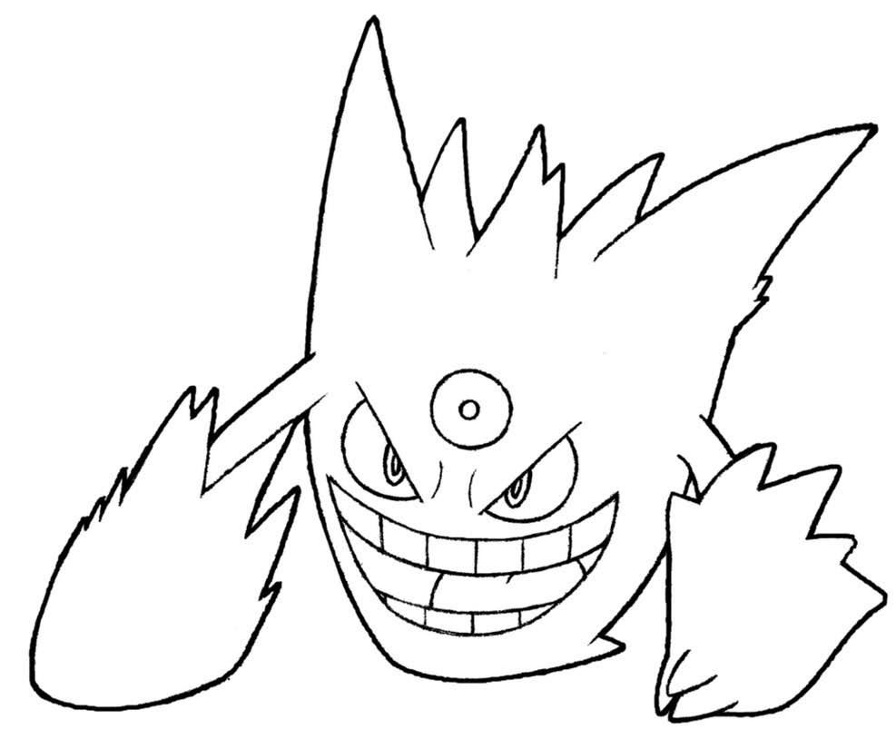 Pokemon Mega Gengar Coloring Pages Di 2020