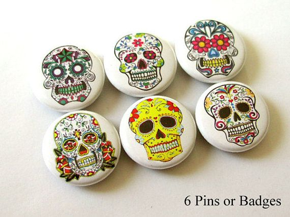 Day Of The Dead Wedding Gifts: Day Of The Dead Sugar Skulls Pinback Buttons Pins Dia De