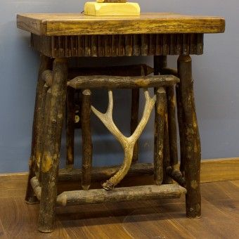 Real Hickory Log End Table With Antler Accent Rustic