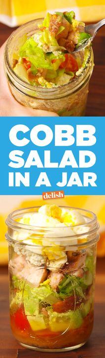 This Cobb Salad In A Jar is the best desk lunch ever. Get the recipe from Delish.com.