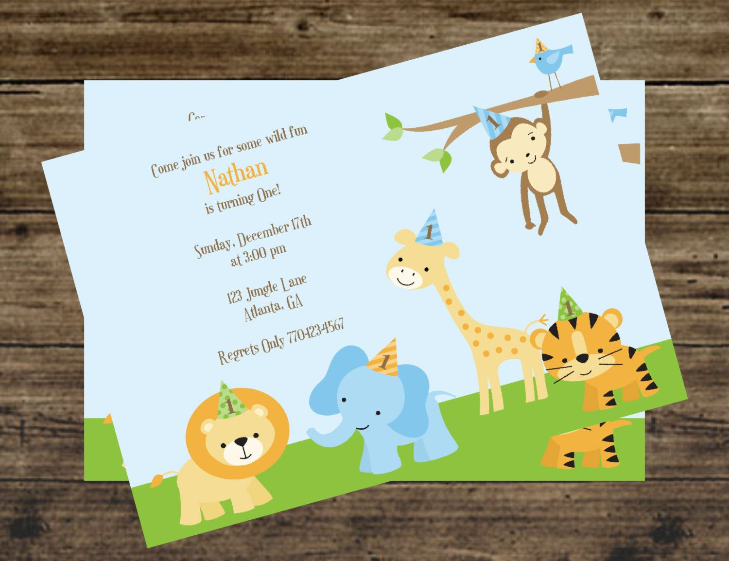 Safari Jungle Zoo Animal 1st Birthday Party Invitations Miss