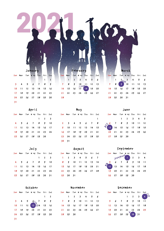 2021 BTS Calendar Poster (1 year) / Bangtan sonyeo
