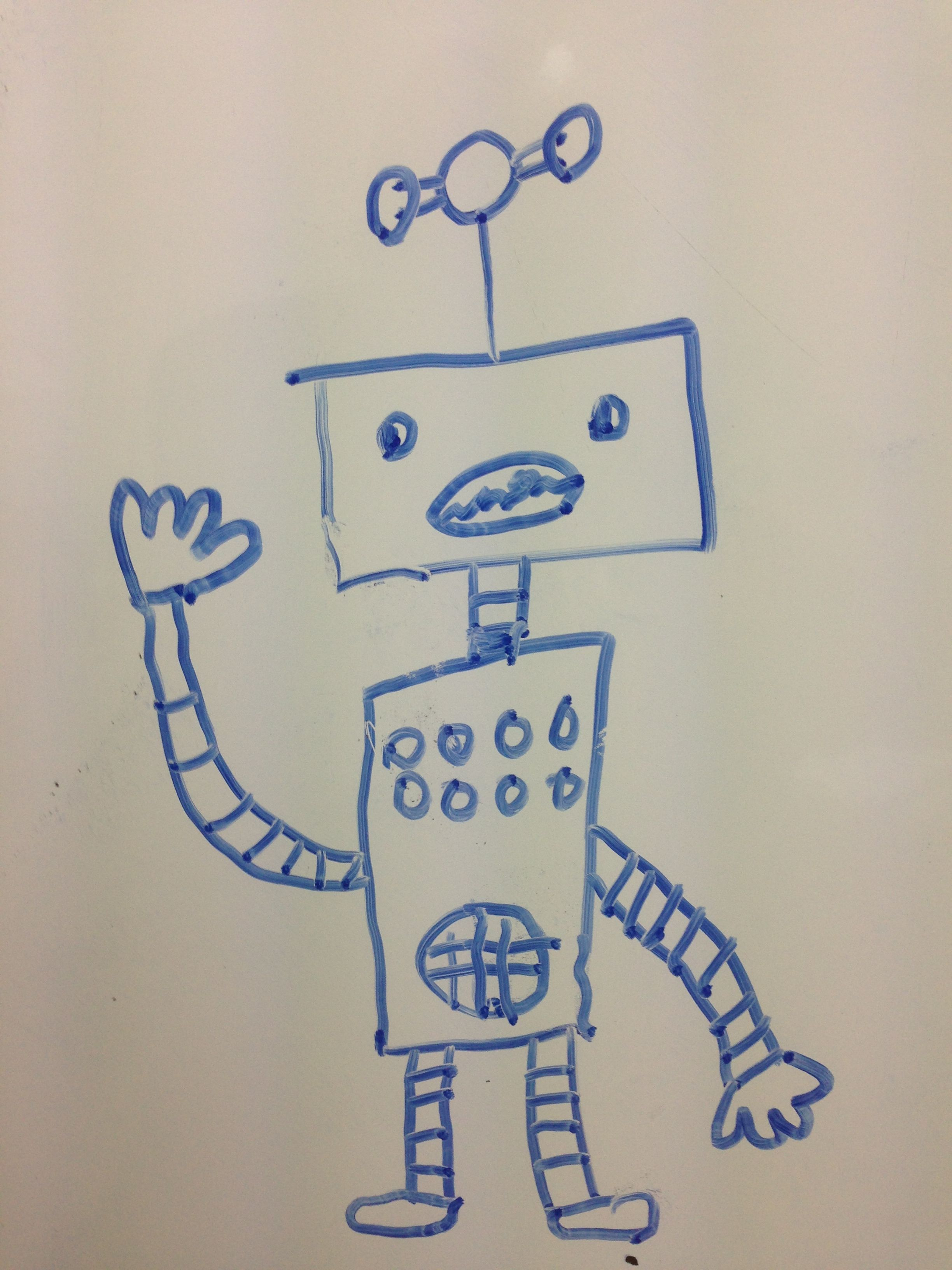 A robot that one of my Japanese students drew on the board.