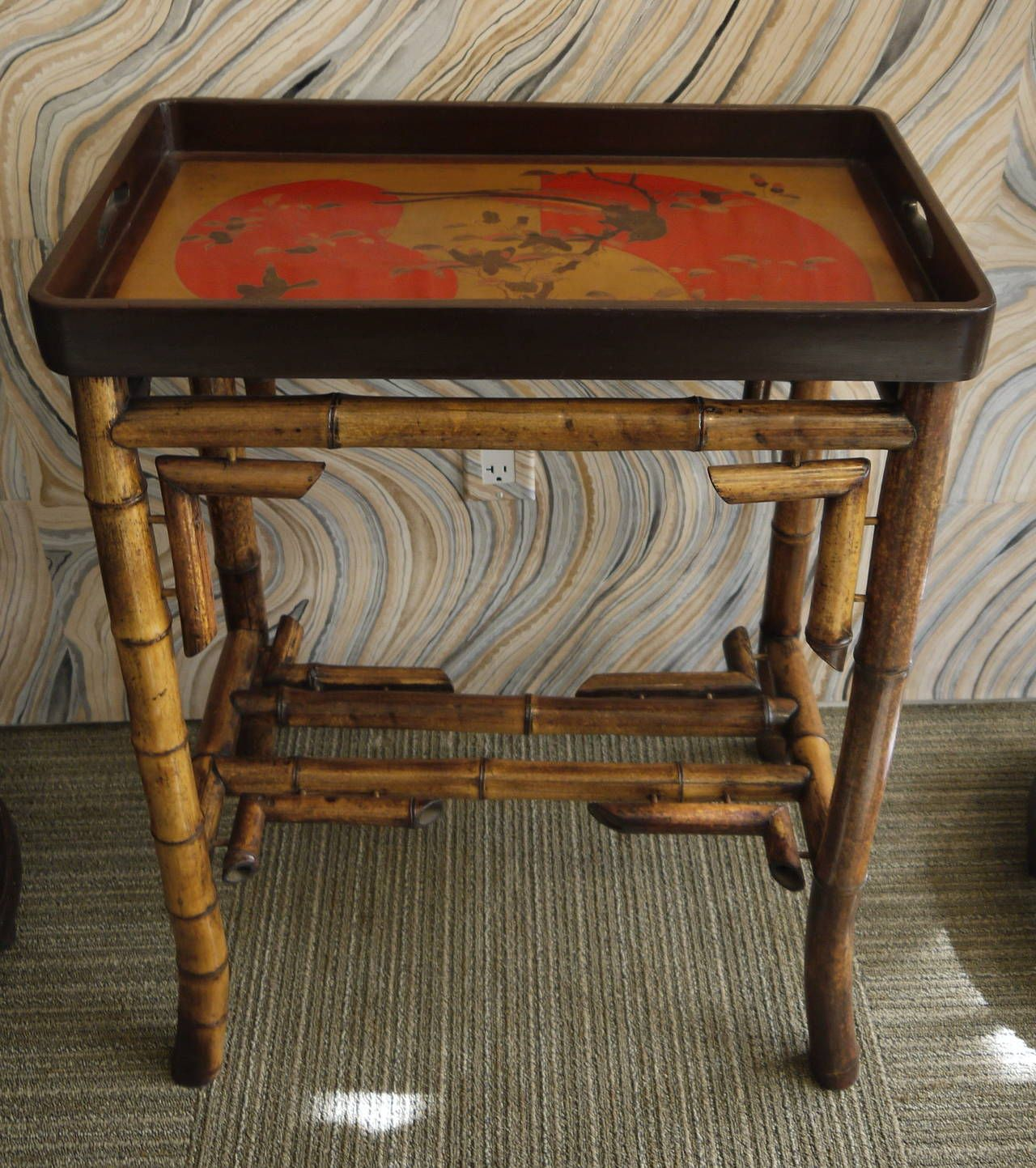 Japanese Lacquer Tray Table With Bamboo Base