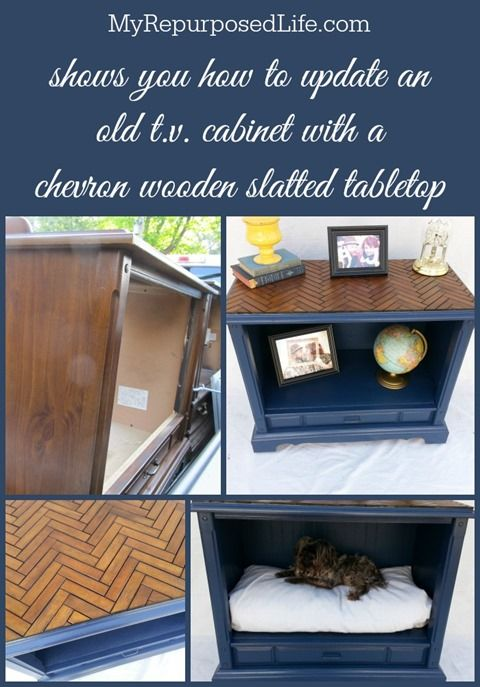 Use closet door slats to create table top design (I've got an old door in my garage!)