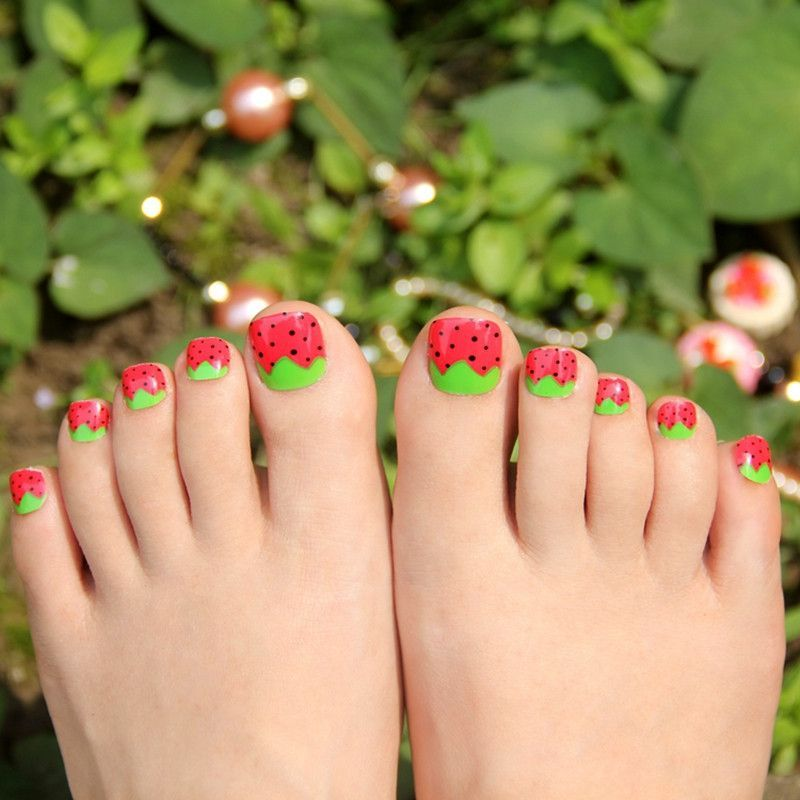 Green Leaves Strawberry False Fake Toe Nails Art Tips Red Acrylic ...