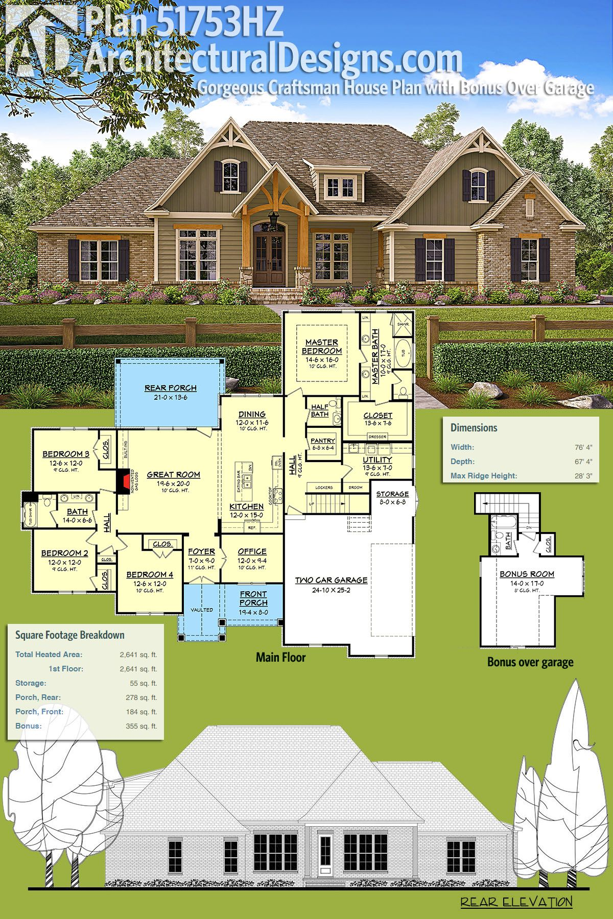Plan 51753HZ Gorgeous Craftsman House Plan with