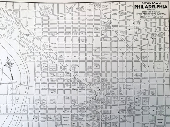 1937 Philadelphia Map. Antique City Map of Philly. Historical Print ...