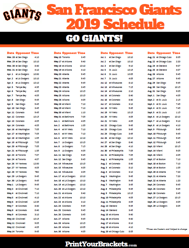 image relating to Baltimore Orioles Printable Schedule identified as Printable 2019 San Francisco Giants Routine Printable MLB