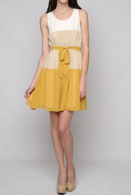Color block mustard yellow dress
