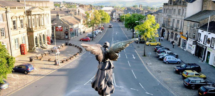 Skipton High St taken by Steve Garnett of Craven Herald from my cherry picker.