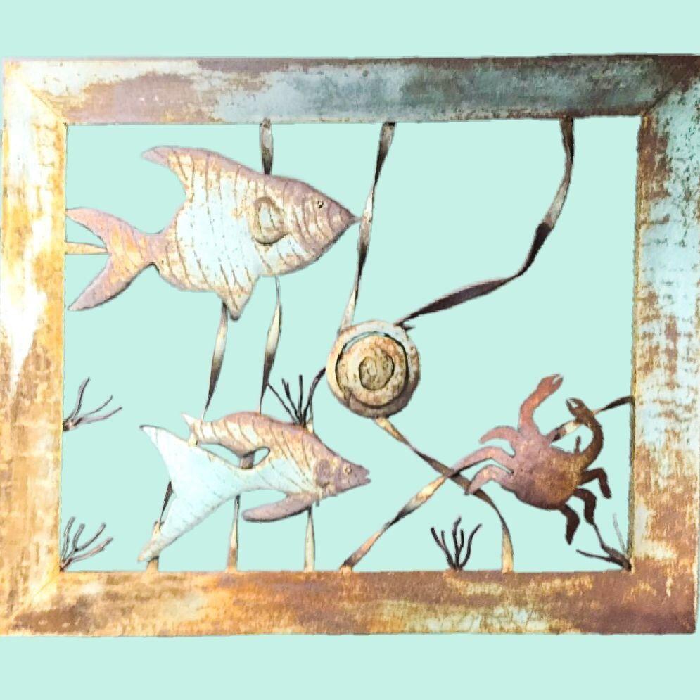 Sea life beach decor 47 metal wall art sculpture framed
