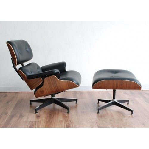 Nice Walnut Wood Eames Replica Lounge Chair Ottoman Premium Top Grain Black  Leather