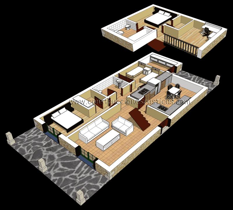 3d de distribuci n interior de casa r stica de piedra con for Cubiertas para casas