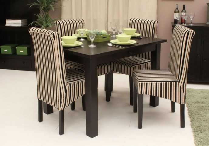 Fantastic Small Dining Tables With Upholstered Stripes Chair Design  Combined With Dark Wooden Table In Minimalist Round Style Furniture