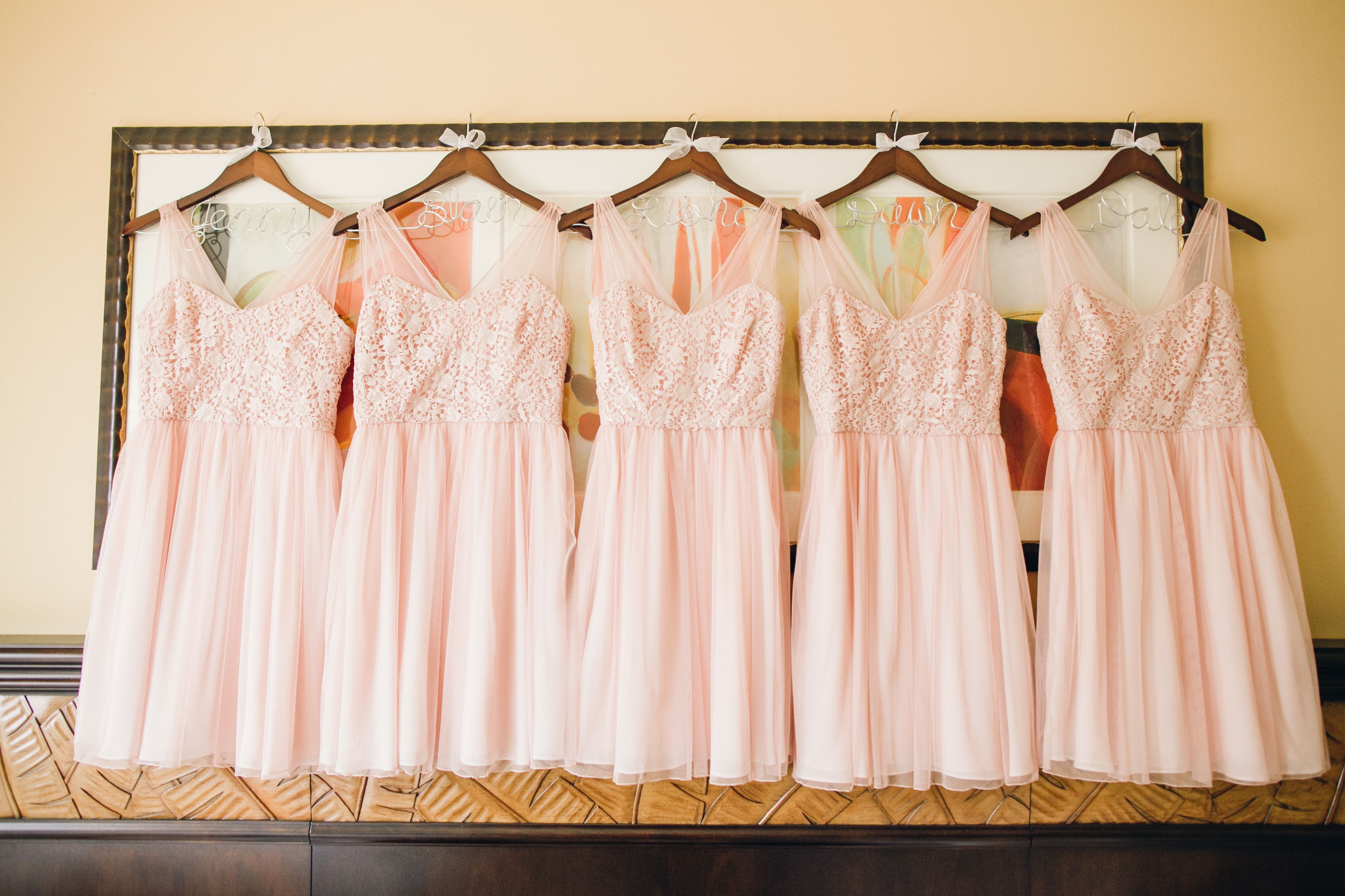 Peach bridesmaid dresses with personalized hangers - darling! #peach ...