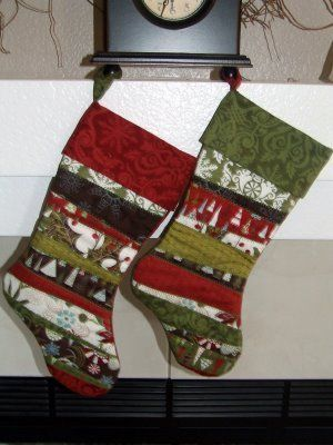 His and Hers Scrappy Christmas Stocking Quilt Patterns | Stockings ... : pattern for quilted christmas stocking - Adamdwight.com