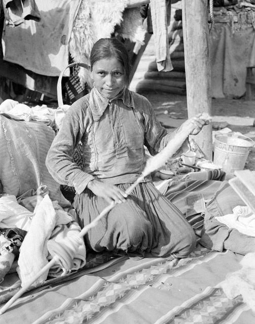 Navajo woman spinning