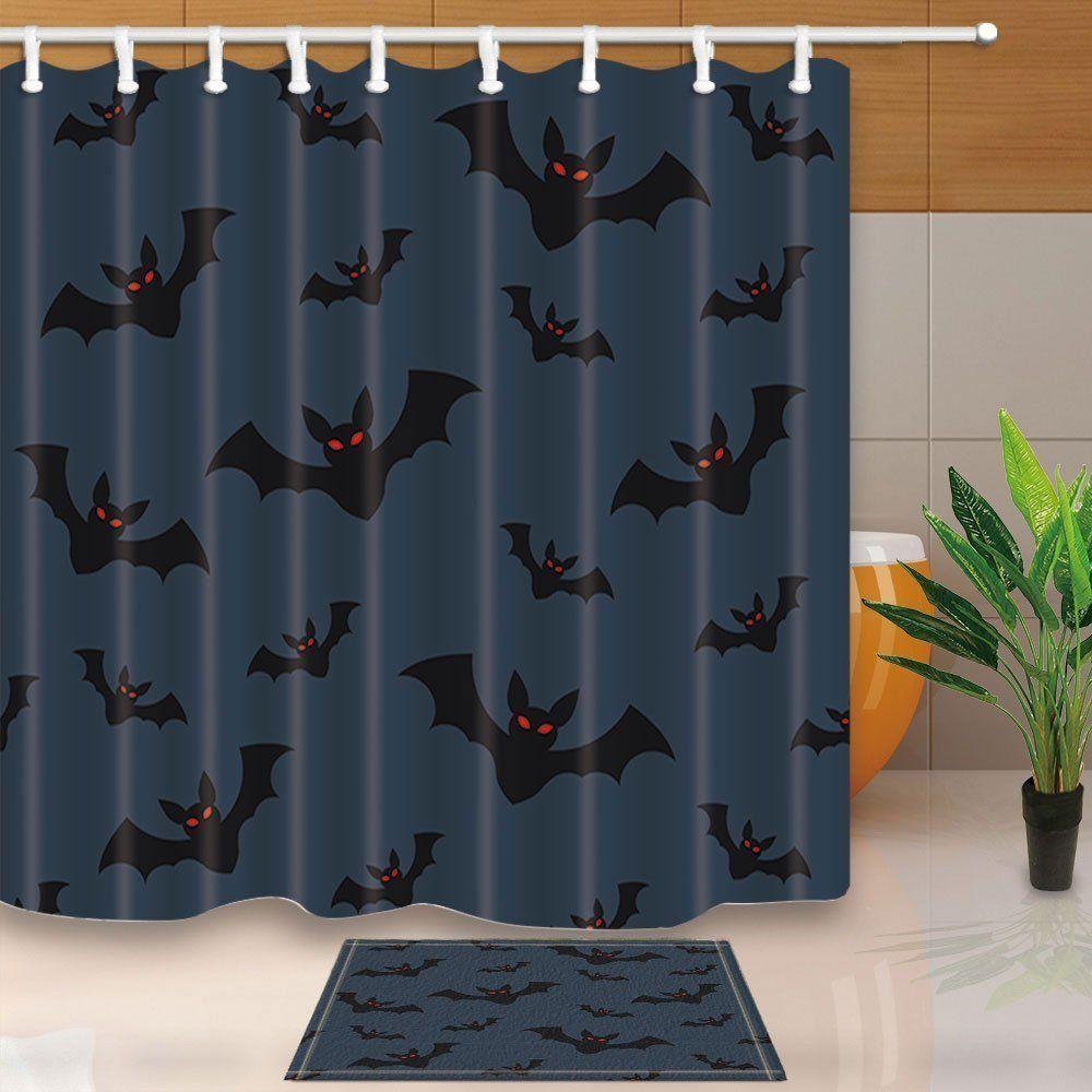 Halloween Shower Curtian Set Flying Bat On Dark Blue Sky background Bath Curtain
